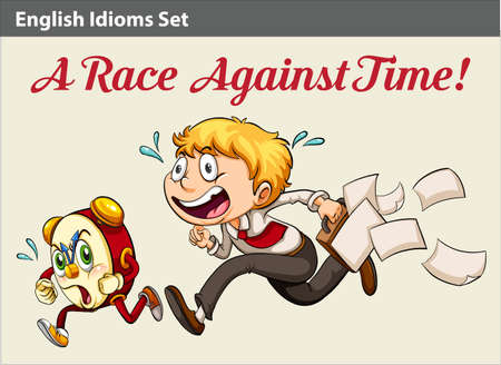 idiom: An idiom about a boy racing against time Illustration