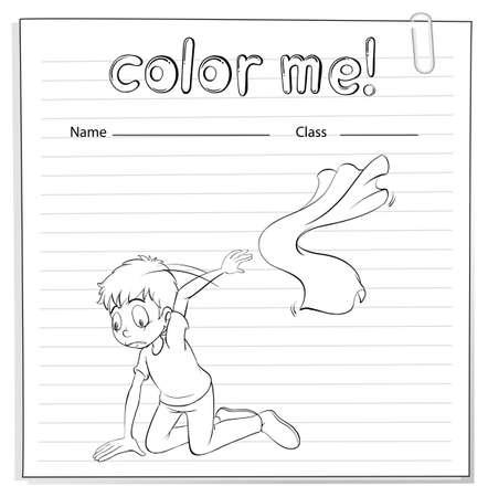 ajoelhado: A planilha com um menino ajoelhado sobre um fundo branco