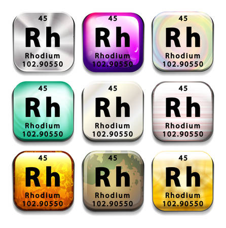 rhodium: An icon showing the chemical Rhodium on a white background Illustration