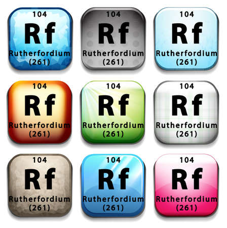 electrons: The chemical element Rutherfordium on a white background