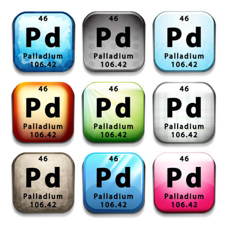 palladium: An icon with the chemical element Palladium on a white background