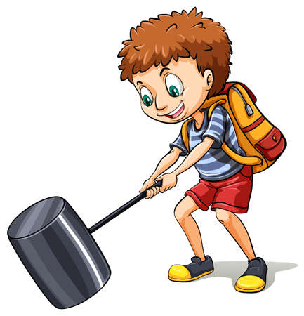 drive nail: An idiom showing a young man hitting the road on a white background Illustration