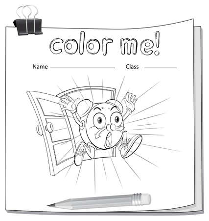 workbook: A color me worksheet with a running clock on a white background