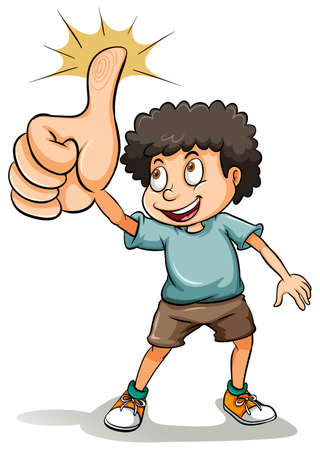 ok sign language: An idiom about a boy showing his thumb on a white background Illustration