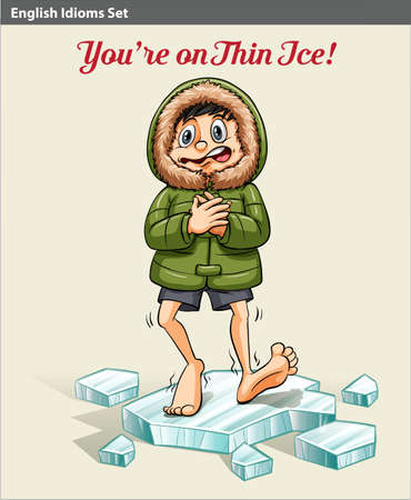 idiom: An idiom showing a boy above the ice block