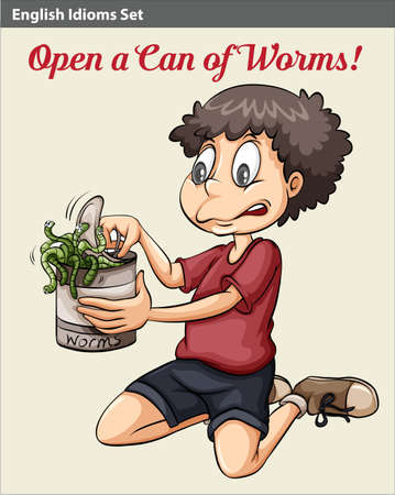 figurative: An English idiom showing a boy opening a can of worms
