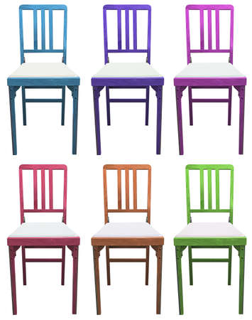 backrest: Set of chairs on a white background
