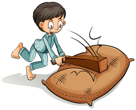 brown rice: A boy hitting the sack with a log on a white background Illustration