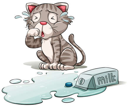 mewing: A cat crying over a spilt milk on a white background