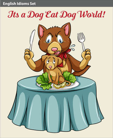idiom: An idiom showing a cat eating a dog at the table