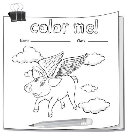 flying pig: A worksheet with a flying pig on a white background