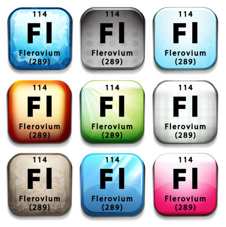 graphic flerovium: A button with the chemical Flerovium on a white background