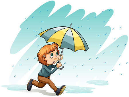 heavy: An idiom showing a heavy rain on a white background Illustration
