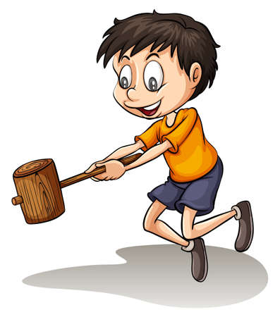 break: A young man holding a wood on a white background Illustration