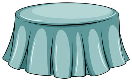 drawing table: A round table on a white background Illustration