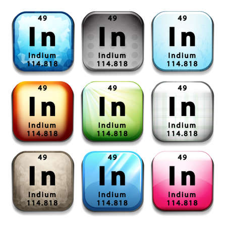 indium: A button with the chemical element Indium on a white background