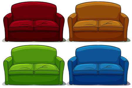 four texture: Set of colourful sofa on a white background
