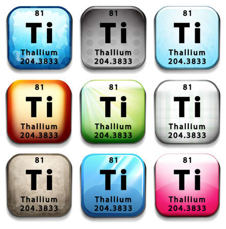 81: An icon with the chemical element Thallium on a white background Illustration