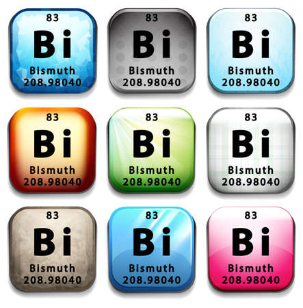 bismuth: An icon with the chemical element Bismuth on a white background Illustration