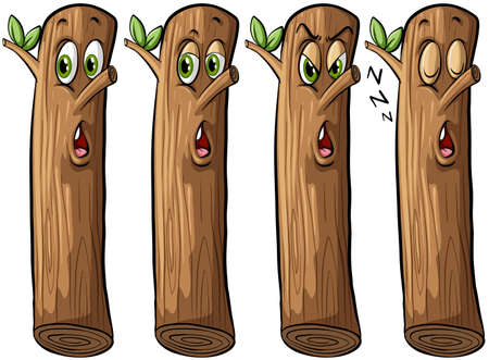 tree stump: Set of logs with faces on a white background