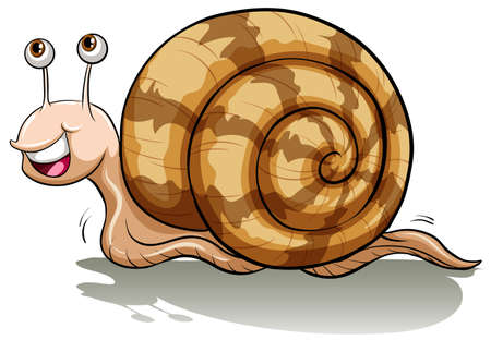 slowly: An idiom showing a slow snail on a white background