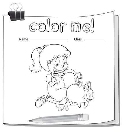 coloring sheets: A worksheet with a girl saving her money on a white background Illustration