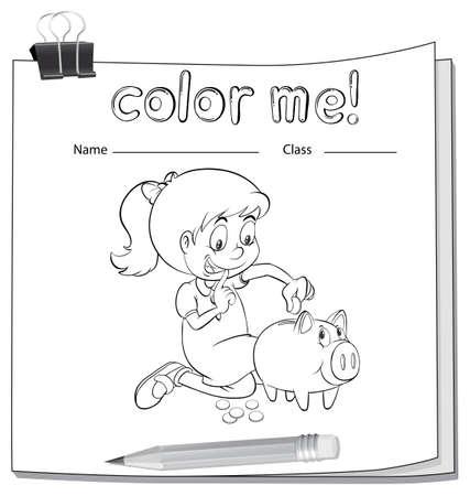 Colorear Hoja De Trabajo Con Una Chica Tirando De Su Calcetín En Un ...
