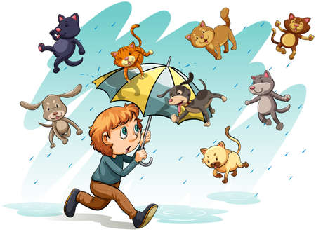 An idiom showing a rain with cats and dogs on a white background Ilustrace