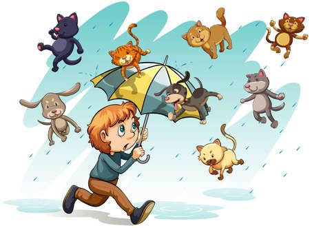 uomo sotto la pioggia: Un linguaggio che mostra una pioggia con cani e gatti su uno sfondo bianco Vettoriali