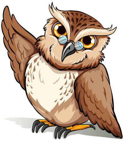 mobbing: An English idiom showing a wise owl on a white background