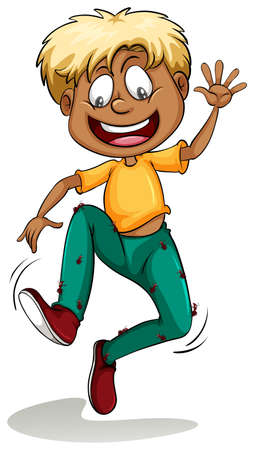 white pants: A boy with ants around his pants on a white background