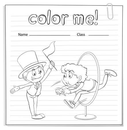 coloring sheets: A worksheet with two men on a white background