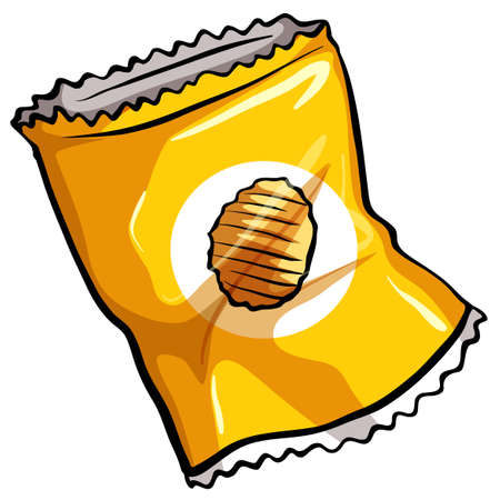 crisp: A pouch of potato chips on a white background Illustration