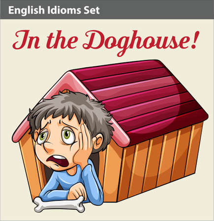 An idiom showing a boy in the doghouse