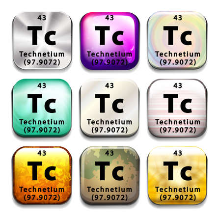 subatomic: An icon showing the chemical Technetium on a white background Illustration