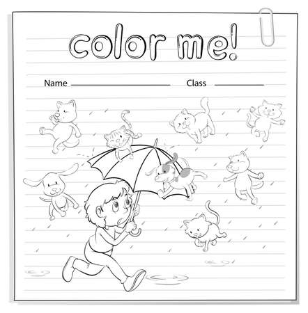 raining: A worksheet showing a rain with cats and dogs on a white background Illustration