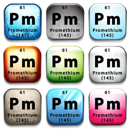 pm: An icon showing the chemical Promethium on a white background Illustration