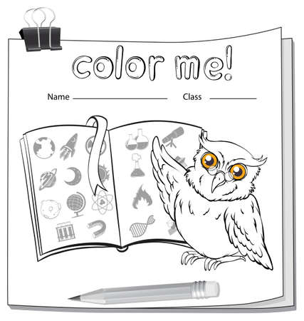coloring sheets: A worksheet with an owl and a book on a white background Illustration