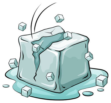 An ice cube on a white background Illustration