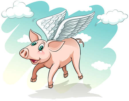 pig wings: A flying pig on a white background