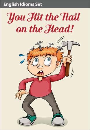idiom: An idiom showing a boy hammering his head