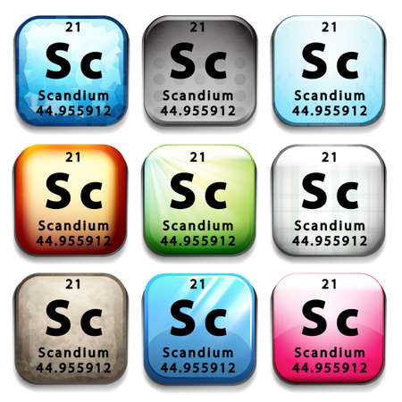 element: The chemical element Scandium on a white background