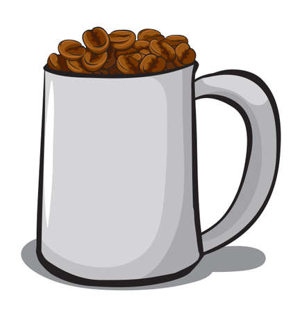 A mug full of coffee beans on a white background Illustration