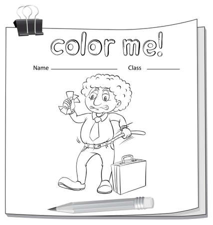 coloring sheets: A color me worksheet with a man on a white background