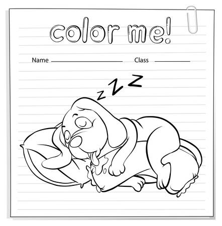 coloring sheets: A worksheet with a dog sleeping on a white background