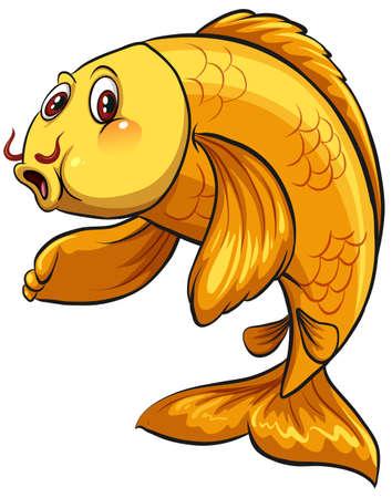 Ein gelber Fisch auf einem weißen Hintergrund Vektorgrafik