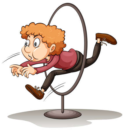man jumping: A man jumping through a hoop on a white background Illustration