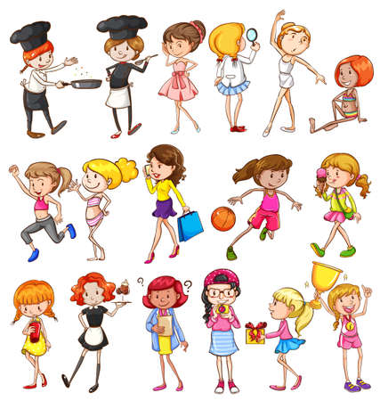 experimenting: Different activities of girls on a white background Illustration