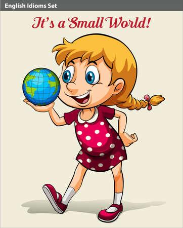 globe terrestre dessin: Un idiome anglais montrant une jeune fille tenant le globe