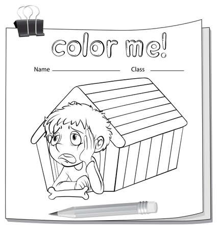 coloring sheets: A worksheet with a wooden doghouse and a boy on a white background